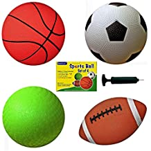 Conjunto de 4 pelotas de deportes con 1 bomba, pelota de fútbol de 5 pulgadas, pelota de baloncesto de 5 pulgadas, pelota para patio de 5 pulgadas y pelota de fútbol de 6.5 pulgadas