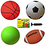 Set of 4 Sports Balls with 1 Pump, 5' Soccer Ball, 5' Basketball, 5' Playground Ball, 6.5' Football
