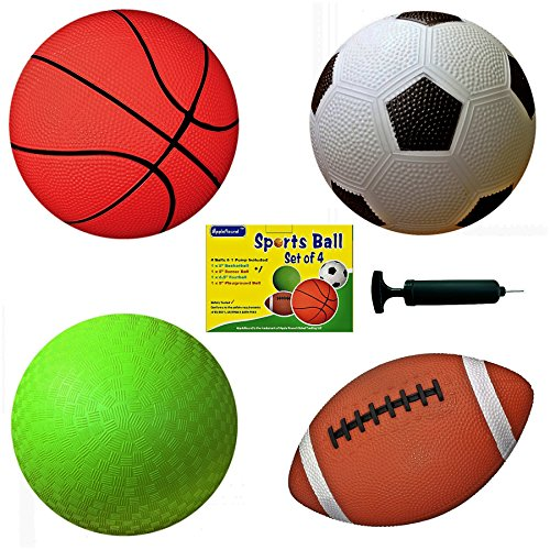 "Set of 4 Sports Balls with 1 Pump, 5"" Soccer Ball, 5"" Basketball, 5"" Playground Ball, 6.5"" Football"