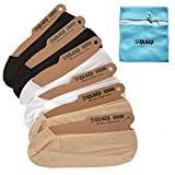EPLAZA 6 Pairs Silicone Grip Women No Show Socks Non-Skid + 1 Wash Bag (e)