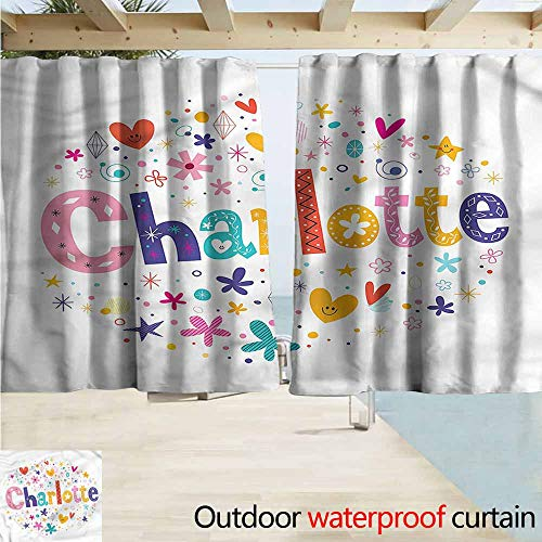 MaryMunger Indoor/Outdoor Print Window Curtain Charlotte Happy Smiling Stars Drapes for Outdoor Decor W72x72L Inches ()