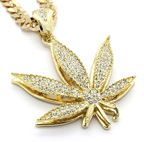 Mens Gold Tone Marijuana Hip Hop Pendant