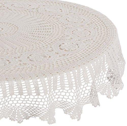 SARO LIFESTYLE 869 Crochet Tablecloths, 45-Inch, Round, Whit