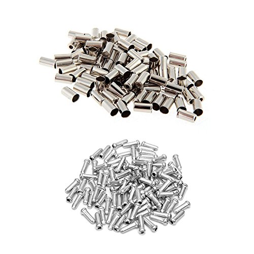 Ohaha 100pcs Road Mountain Bicycle Bike Alloy Brake Cable End Tips Crimps Ferrules Caps Silver Tone W 100pcs Bike brake cable caps