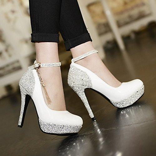 7c3f297e4c2d ... YE Damen Ankle Strap High Heels Lack Glitzer Plateau Pumps mit Riemchen  und Stiletto 12cm Absatz