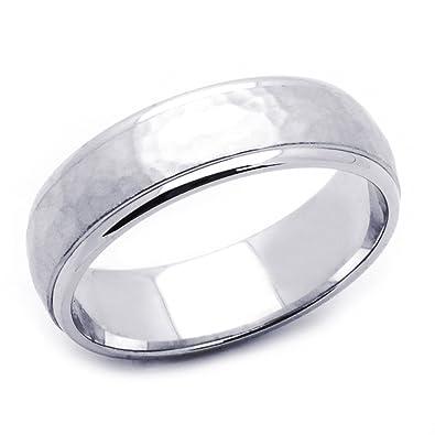 14K White Gold 6mm Hammered Finish Wedding Band Size 5 to 12