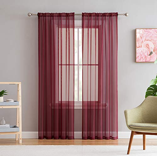 HLCME Burgundy 2 Pack 55 inch by 84 inch Window Curtain Sheer Panels ()