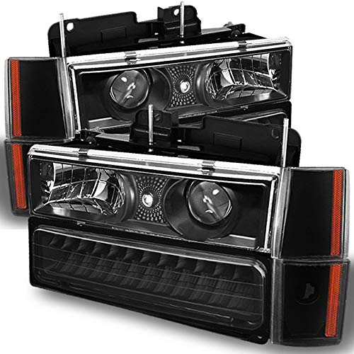 For 1994-1998 C/K 1500 2500 3500 Silverado Suburban Pickup Black Projector Headlights +Corner+ LED Bumper Lamps Combo Chevy Blazer Projector Headlights