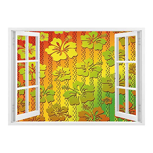 ck Fabric Illusion 3D Wall Decal Photo Sticker/Rasta,Hibiscus Exotic Jamaican Island Flower with Zig Zag Lines Print,Light Green Red and Marigold/Wall Sticker Mural ()