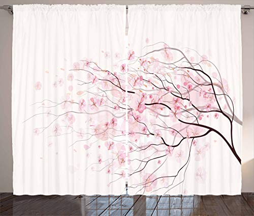 """Ambesonne Pale Pink Curtains, Sakura Branch with Cherry Flowers Tender Japanese Spring, Living Room Bedroom Window Drapes 2 Panel Set, 108"""" X 108"""", Pink White"""