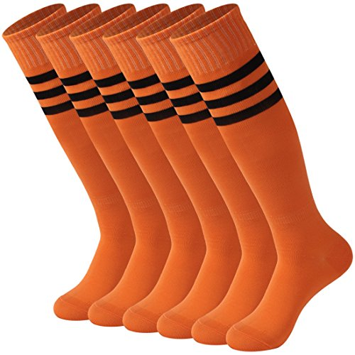 Calbom Team Soccer Socks Men, Women's Breathable Knee High Socks Solid Color Rugby Football Socks Pack of 6 Orange One Size - Orange Striped Team Colors