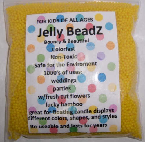 8oz -Almost 15,000 JellyBeadZ Water Bead Gel - LEMON YELLOW- Heat Sealed Bag- Water Pearls Gel Beads- Wedding & Event Centerpieces