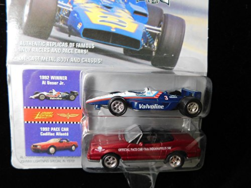 Al Unser Indy Racer 1992 (blue) Plus Cadillac AllantePace Car (red) Indianapolis 500 Champions Collection 1:64 scale die-cast by Johnny Lightning
