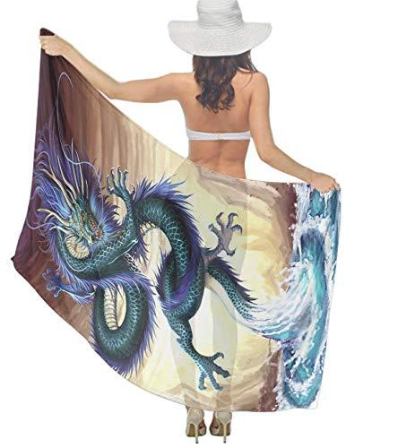 Women fierce Chinese Dragon ocean swirl Scarf Beach Cover-ups Elegant Yarn Shawl