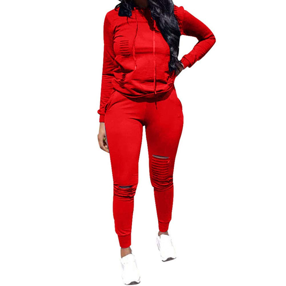 Women's 2 Piece Outfits - Ripped Hole Pullover Hoodies Sweatpants Sports Tracksuit Jumpsuit Set Plus Size