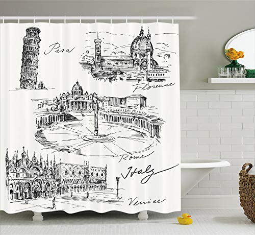 Ambesonne Sketchy Shower Curtain, Travel The World Themed Historical Italian Landmarks Venice Rome Florence Pisa, Fabric Bathroom Decor Set with Hooks, 70 Inches, Cream White