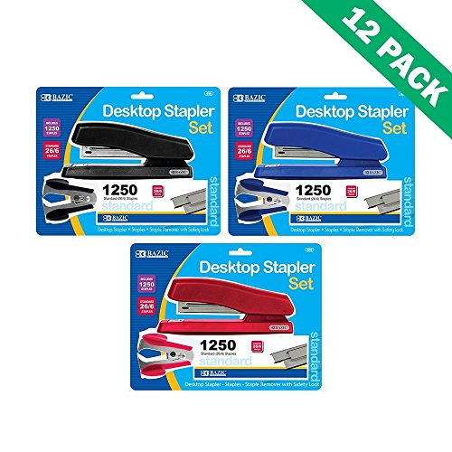 Office Staplers, Colored Bazic Desktop Stapler And Remover Sets 12 Units Per Box by Bazic-Products