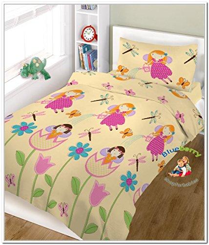 BlueberryShop 2 pcs BABY COT BED BUNDLE BEDDING SET DUVET+PILLOW COVERS 90 x 120 cm (35.5'' x 47'') ( 0-7Yrs ) ( 120 x 90 cm ) Cream Fairy by BlueberryShop
