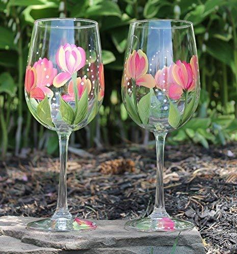 (Hand Painted Wine Glasses - Tulips Variegated (Set of 2))
