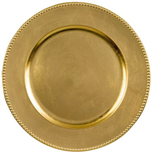 Elegant Round Metallic Plastic Charger Party Table Reusable Serveware and Dishware, Gold, 14'.