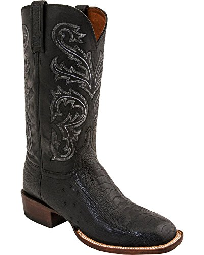 (Lucchese Men's Handmade Ostrich Horseman Exotic Boot Square Toe Black 15 EE)