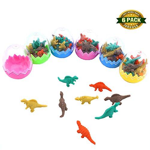 Mini Dinosaur Erasers, Pencil Erasers Mini Erasers Educational Dinosaur Animal Toys School Supplies Animal Erasers for Kids, 48 PCS (Dinosaur Eraser)