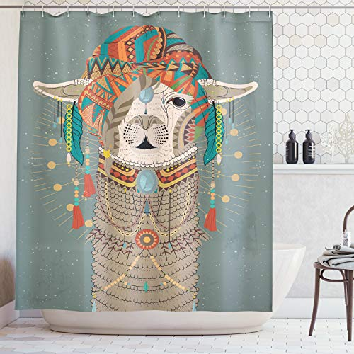 - Ambesonne Llama Shower Curtain, Colorful Headwear Wearing Llama with Accessories Earrings Necklace Abstract Animal, Cloth Fabric Bathroom Decor Set with Hooks, 70 Inches, Gray Green