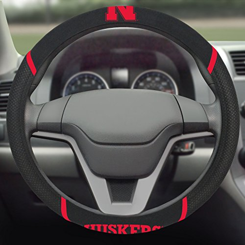 FANMATS NCAA University of Nebraska Cornhuskers Polyester Steering Wheel Cover