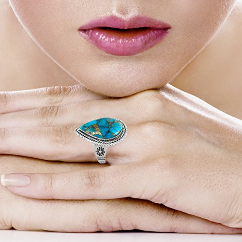 Sterling Silver Genuine Copper-Infused Matrix Turquoise Ring for Women (8) by Turquoise Network (Image #2)