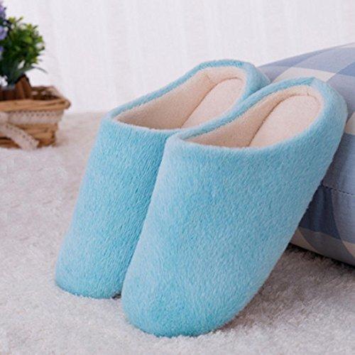 Elevin (tm) Donna Uomo Inverno Caldo Colore Caramelle Pantofole Di Cotone Casa Antiscivolo Scarpe Blu
