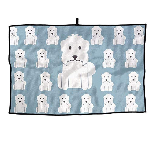 r Maltese Dog Pattern Microfiber Golf Towel Sport Towel for Workout Gym Fitness Yoga Camping Hiking Bowling Travel Outdoor 15