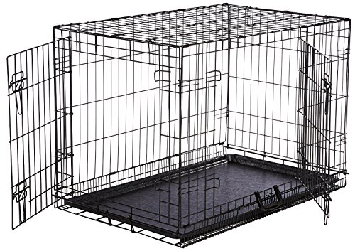 AmazonBasics Double-Door Dog Crate and Padded Bolster Bed - Medium