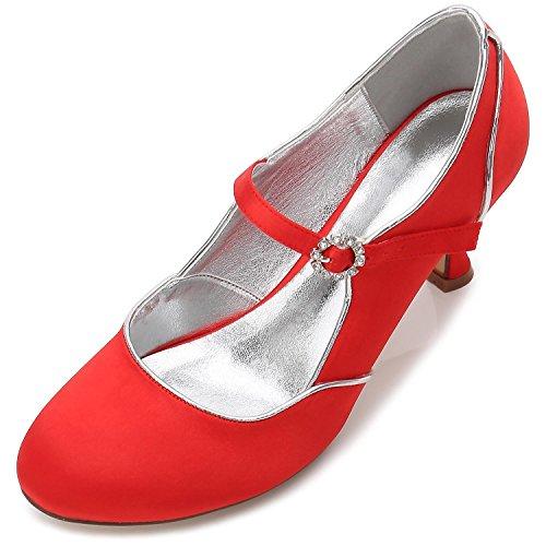 Primavera Gran Aire de Las Y Brillos 55 Red Otoño Tamaño de Invierno Oficina E17061 Mujeres high shoes de Zapatos Verano Boda Al Libre Elegant x14awqvn