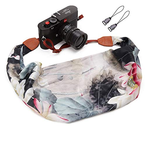 Camera Strap Scarf Vintage Floral Fabric DSLR Universal Neck Shoulder Belt For Women by Deanoy(White and Gray)