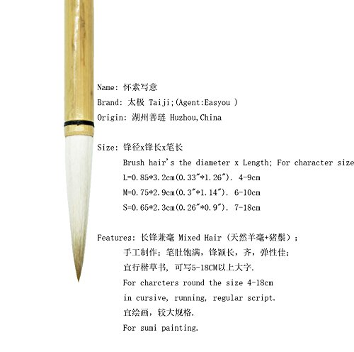 """Easyou Chinese Calligraphy Sumi Drawing Brush for Freestyle Painting and Running Cursive Script Jianhao(Wolf+Goat Hair) 0.955cm(0.37""""1.97"""") hsxy M3pcs"""