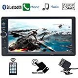D&A Double Din,Touchscreen, Bluetooth,In-Dash MP3/USB/SD/FM Car Stereo Receiver, 7 Inch Digital LCD Monitor, Wireless Remote,Multi Color Illumination