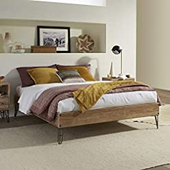 Bedroom Rustic Platform Bed Frame Offers Classic Style and Contemporary Function. Solid Wood Queen Size No Box Spring Needed… farmhouse beds and bed frames
