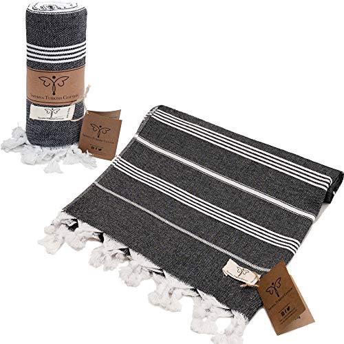 Smyrna Classical Series Original Turkish Beach Towel | 100% Cotton, Prewashed, 37 x 71 Inches | Peshtemal and Turkish Bath Towel for SPA, Beach, Pool, Gym and Bathroom
