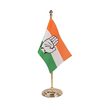 The Flag Shop Indian National Congress Party Inc Miniature Table Flag With A Round Gold Plated Plastic Base Amazon In Car Motorbike