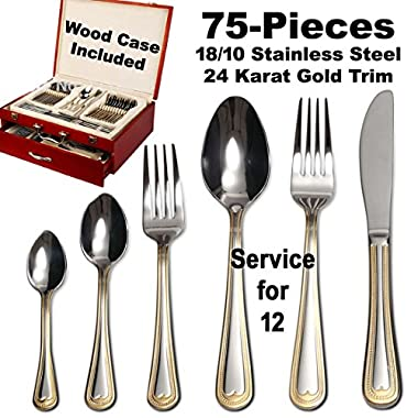 World Gifts  Madison  75-Piece Flatware Silverware Set, Dining Service for 12, Premium 18/10 Surgical Stainless Steel, 24K Gold-Plated Hostess Serving Set, Cherry Color High Gloss Luxury Wooden Case