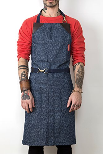 Under NY Sky Blue Pattern Denim Apron - No-Tie, Leather Reinforcement, Split-Leg - Adjustable for Men, Women - Pro Chef, Barista, Bartender, Baker, Stylist, Tattoo, Artist, Server