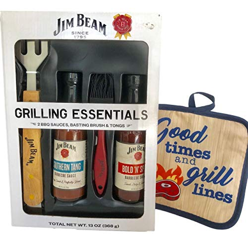 Jim Beam BBQ Grilling Set, Fork and Hot Pad - Fathers Day, Birthday Gift (Barbecue Sauce Beam Jim)