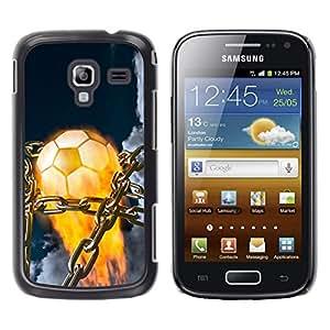 Balón de fútbol llameante - Metal de aluminio y de plástico duro Caja del teléfono - Negro - Samsung Galaxy Ace 2