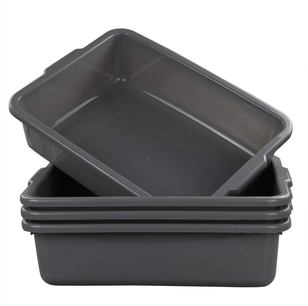 Eagrye 4-Pack Bus Tubs, Commercial Tote Box, Plastic Bus Box (13 L Capacity), Grey by Eagrye