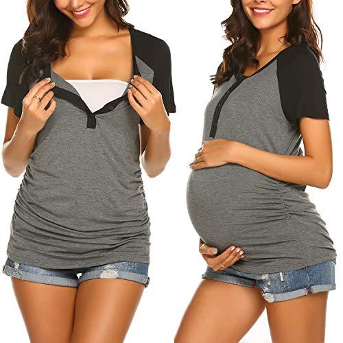 Ekouaer Maternity Shirt Side Ruched Nursing Tunic Tops Short Sleeve Henley T-Shirts (Grey ()
