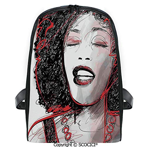 SCOCICI Primary School Student Book Bag African American Girl Singing with Saxophone Player Popular Sound Design for Girls/Boys Back To School Gift
