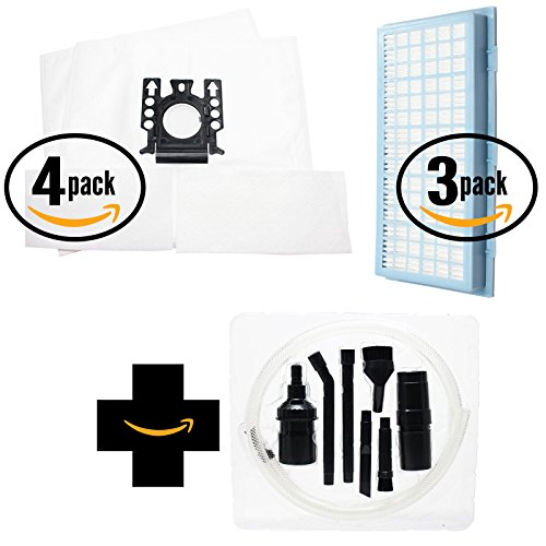 8 Replacement Style FJM Vacuum Bags & 3 AH30 HEPA Filter with 1 Micro Vacuum Attachment Kit for Miele - Compatible with Miele S301i, Miele S316i Cat & Dog, Miele S334i Ambiente, Miele S336i Blue Magic, Miele S344i Platinum, Miele S318, Miele S314, Miele S318i, Miele S334i, Miele S336i, Miele S344i, Miele S314i, Miele S316i, Miele S548, Miele S544, Miele S516, Miele S548i (Intensive Clean Filter Bags)
