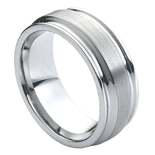 Men's 8mm Pipe Cut Edge Wedding Band, Double Grooved Flat Brushed Center Comfort Fit Tungsten Carbide Anniversary Ring (Flat Grooved Wedding Ring)