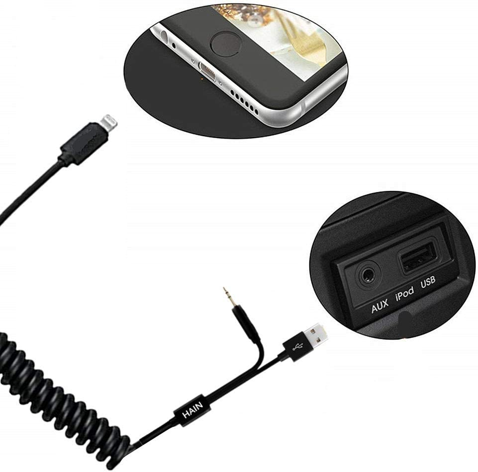 Compatible for iPXs Xs Max XR for BMW HAIN AUX in Adapter 3.5mm Jack /&USB Y Cable Coiled Car Audio Interface Charger Cord Stretched Length 2 Meters