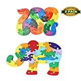train number puzzle - Blocks Jigsaw Puzzles, Wooden Alphabet Jigsaw Puzzle Wooden Building Blocks Animal Wooden Puzzle for Children's Puzzles Toys - Snake & Elephant
